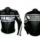 MOTORCYCLE YAMAHA LEATHER RACING JACKET BLACK/WHITE FULL SIZE S