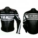 MOTORCYCLE YAMAHA LEATHER RACING JACKET BLACK/WHITE FULL SIZE 4XL