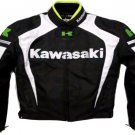 MOTORCYCLE KAWASAKI LEATHER RACING JACKET BLACK/WHITE FULL SIZE L