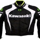 MOTORCYCLE KAWASAKI LEATHER RACING JACKET BLACK/WHITE FULL SIZE 2XL