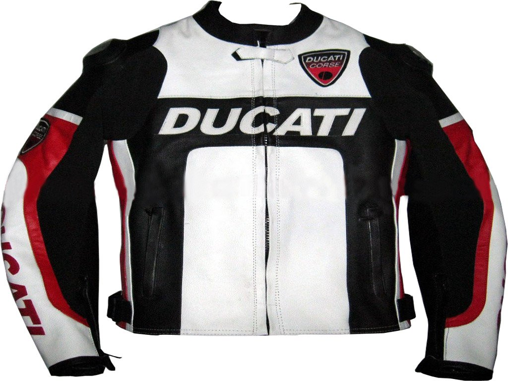 DUCATI MOTORCYCLE LEATHER RACING JACKET BLACK/WHITE FULL SIZE S