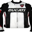 DUCATI MOTORCYCLE LEATHER RACING JACKET BLACK/WHITE FULL SIZE L