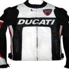 DUCATI MOTORCYCLE LEATHER RACING JACKET BLACK/WHITE FULL SIZE 2XL