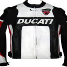 DUCATI MOTORCYCLE LEATHER RACING JACKET BLACK/WHITE FULL SIZE 3XL