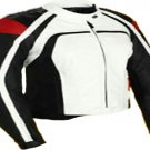 MOTORCYCLE LEATHER RACING JACKET WHITE FULL SIZE 5XL
