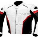 MOTORCYCLE LEATHER RACING DC546 JACKET WHITE FULL SIZE 5XL