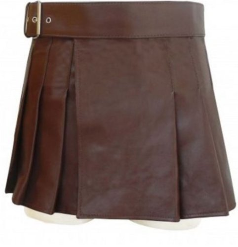 New ladies genuine chocolate brown leather short Scottish kilt Size 40