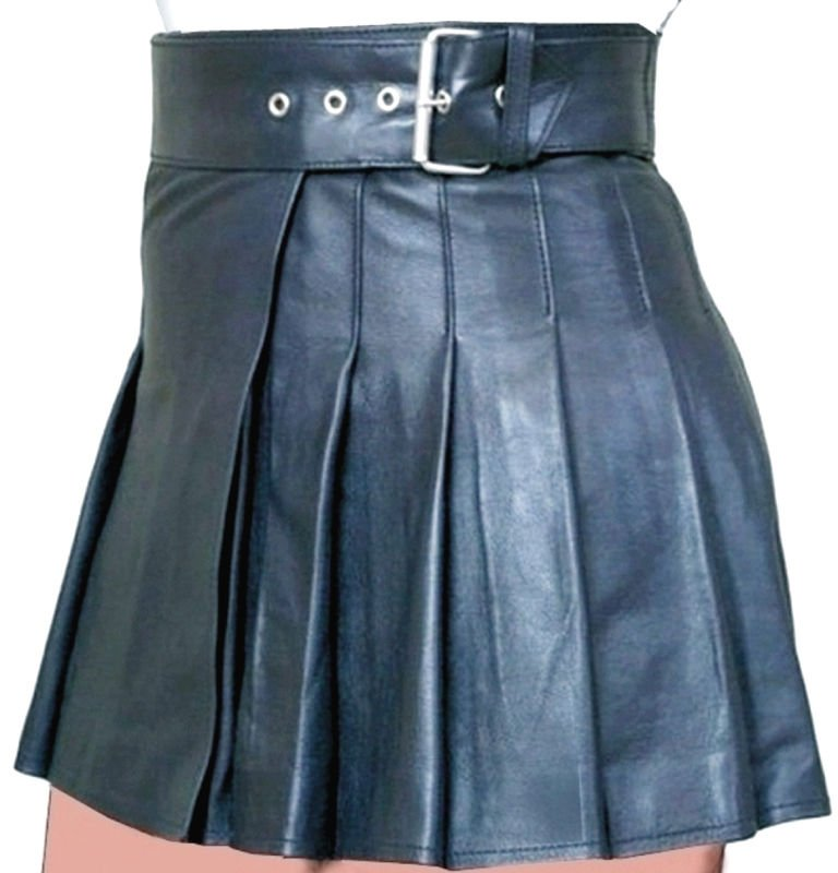 New ladies black leather short Scottish kilt Size 36
