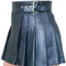 New ladies black leather short Scottish kilt Size 42