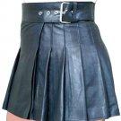 New ladies black leather short Scottish kilt Size 44