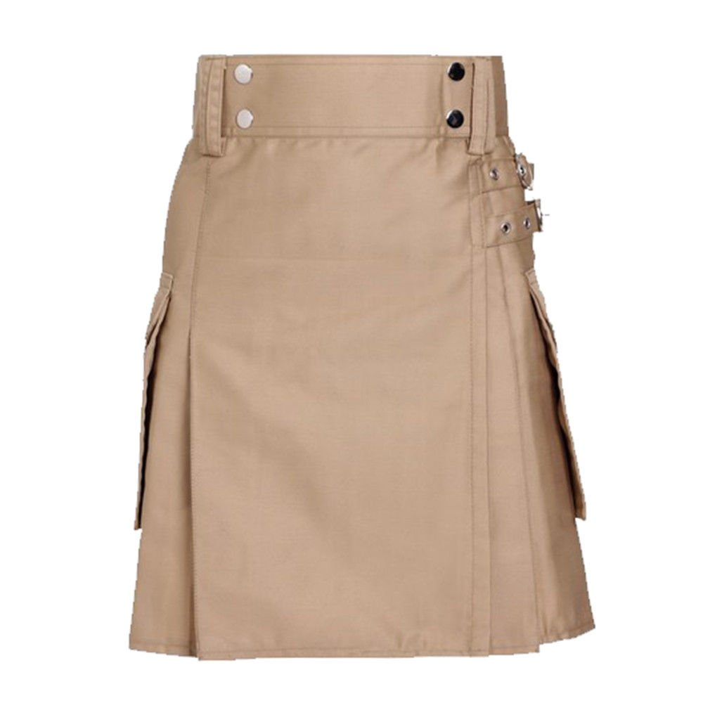 Ladies Khaki Utility Scottish Kilt Skirt Size 38