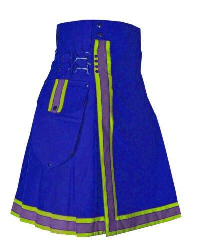 Scottish Handmade Fashion Sports Wear Blue Men Utility Cotton Size 52