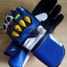 Blue Motorbike Motto GP Leather  Racing Glove Protected Racing Glove Size M
