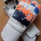 White Flag Printed Motorbike Motto GP Leather  Racing Glove Protected Racing Glove Size M