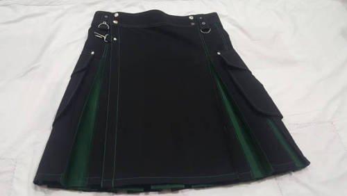 Men Active Handmade Black & Green Hybrid Cargo Pockets Fashion Utility Kilts Size  44