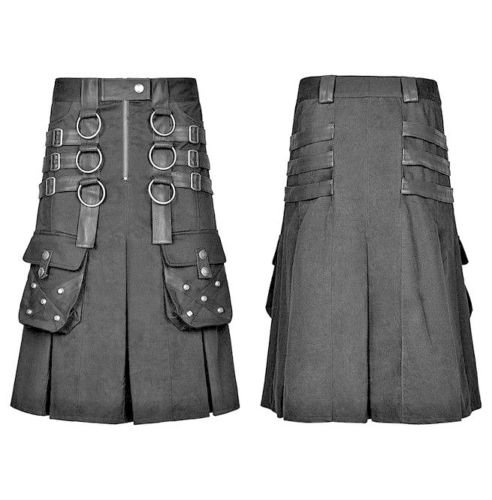 New Active Men Handmade Scottish Black cotton Utility Metal Warrior Kilts Size 32