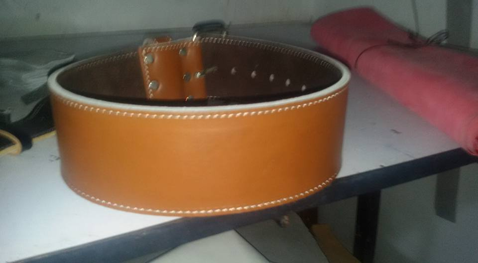 Body fitness gym training customize leather belt size s color brown