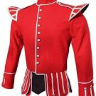 Scottish Military Dress To Impress Piper Drummer Band Doublet Jacket Red & Golden Size S