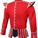 Scottish Military Dress To Impress Piper Drummer Band Doublet Jacket Red & Golden Size XL