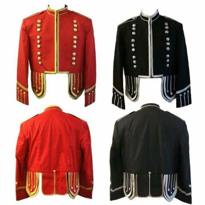 New Scottish Highlander Men Military Piper Drummer Doublet Pipe Band Jacket Size M Color Red