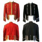 New Scottish Highlander Men Military Piper Drummer Doublet Pipe Band Jacket Size M Color Black