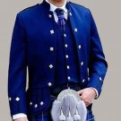 Scottish Highlander Men Prince Charlie Style Coat Fashion Dress To Impress Jacket Size XL Color Blue