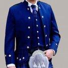 Scottish Highlander Men Prince Charlie Style Coat Fashion Dress To Impress Jacket Size L Color Blue