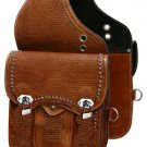 NEW HERITAGE BROWN COLOR STUD MOTORCYCLE MOTORBIKE LEATHER SADDLE BAG ART 877