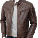 NEW MEN,S FASHION LEATHER MOTORCYCLE BROWN JACKET SIZE L