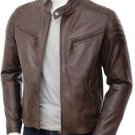 NEW MEN,S FASHION LEATHER MOTORCYCLE BROWN JACKET SIZE 3XL