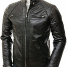 NEW MEN,S LATEST FASHION STYLE LEATHER MOTORCYCLE BLACK JACKET SIZE M