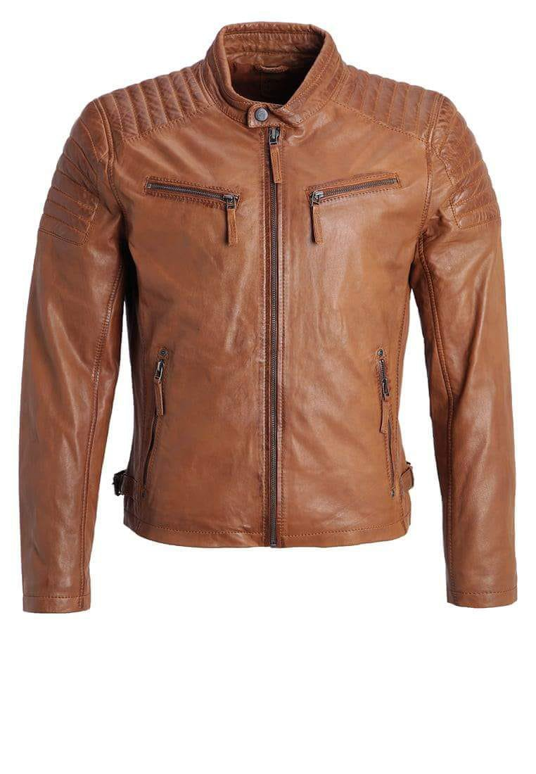 NEW MEN,S LATEST FASHION STYLE LEATHER MOTORCYCLE BROWN JACKET SIZE S
