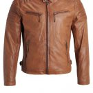 NEW MEN,S LATEST FASHION STYLE LEATHER MOTORCYCLE BROWN JACKET SIZE 5XL
