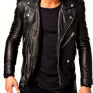 NEW MEN,S VINTAGE FASHION STYLE LEATHER MOTORCYCLE BLACK JACKET SIZE XL
