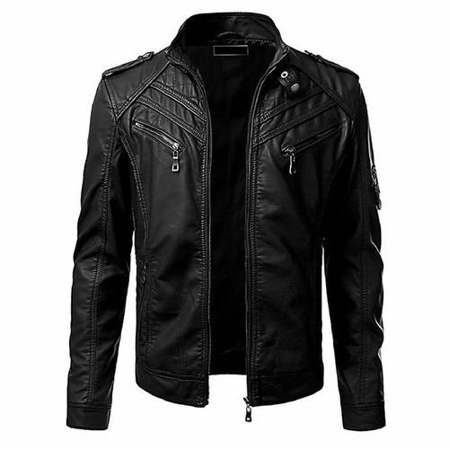NEW MEN,S VINTAGE FASHION STYLISH LOOKING LEATHER MOTORCYCLE BLACK JACKET SIZE L