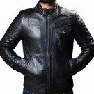 NEW MEN,S FASHION STYLISH LOOKING LEATHER MOTORCYCLE BLACK JACKET SIZE XS