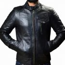 NEW MEN,S FASHION STYLISH LOOKING LEATHER MOTORCYCLE BLACK JACKET SIZE S
