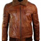 NEW MEN,S FASHION STYLISH LOOKING VINTAGE FURRY COLLAR LEATHER MOTORCYCLE BROWN JACKET SIZE M
