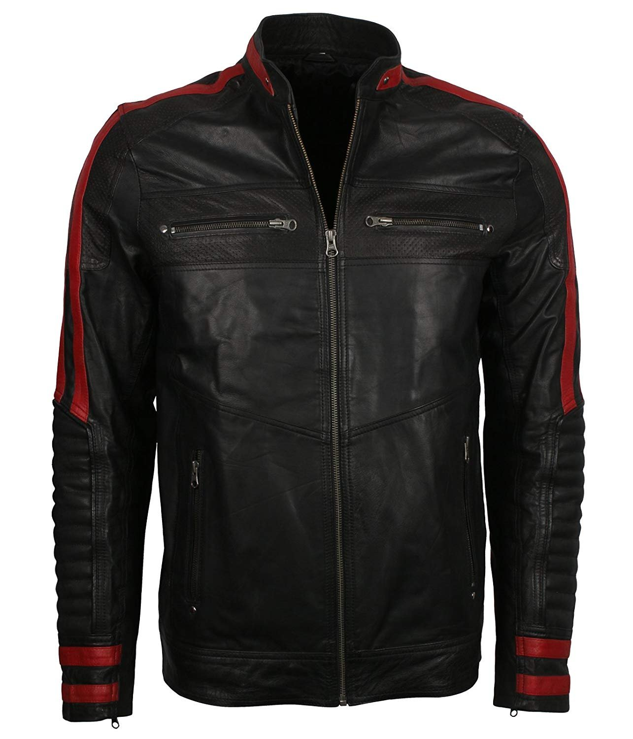 NEW MEN,S FASHION STYLISH LOOKING BLACK WITH RED CONTRAST LEATHER MOTORCYCLE BLACK JACKET SIZE 6XL