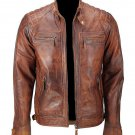 NEW MEN,S FASHION CAFE RACER VINTAGE LEATHER MOTORCYCLE BROWN JACKET SIZE 4XL