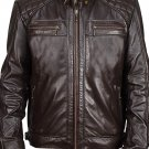 NEW MEN,S FASHION VINTAGE LEATHER MOTORCYCLE DARK BROWN JACKET SIZE 3XL