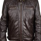 NEW MEN,S FASHION VINTAGE LEATHER MOTORCYCLE DARK BROWN JACKET SIZE 5XL