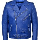 NEW MEN,S FASHION VINTAGE BLUE LEATHER MOTORCYCLE JACKET SIZE 4XL