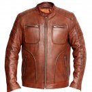 NEW MEN,S FASHION DRESS TO IMPRESS LEATHER MOTORCYCLE BROWN JACKET GS3756 SIZE S