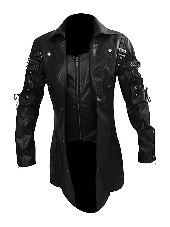 NEW MEN,S FASHION GOTHIC STYLE LEATHER MOTORCYCLE BLACK JACKET GS3788 SIZE 4XL