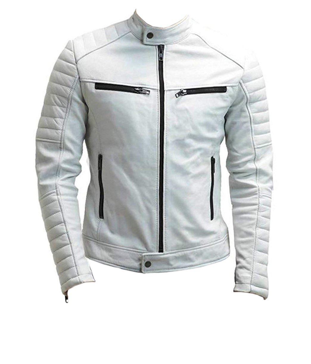 NEW MEN,S FASHION LEATHER MOTORCYCLE WHITE JACKET JC67756 SIZE L