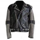 Men motorbike fashion style full body gothic silver studded black leather jacket SIze xs