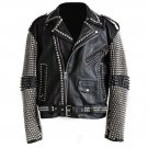 Men motorbike fashion style full body gothic silver studded black leather jacket SIze l