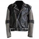 Men motorbike fashion style full body gothic silver studded black leather jacket SIze 2xl