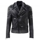 Men motorbike fashion style full body gothic silver studded black leather jacket SIze 5xl
